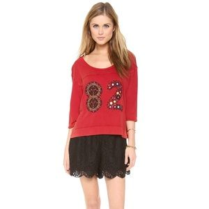 Free People Varsity Palm Tee * Red Combo* XS
